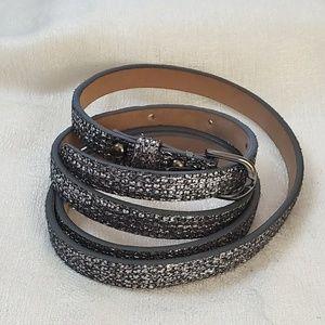 Ann Taylor Pewter Shimmer Skinny Belt M #1294